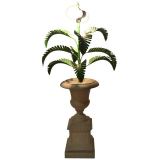 Metal Palm Tree Lamp Mounted in Campagna Urn Form Base For Sale