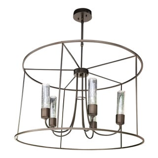 Portico Bronze Drum Indoor/Outdoor Pendant Light For Sale