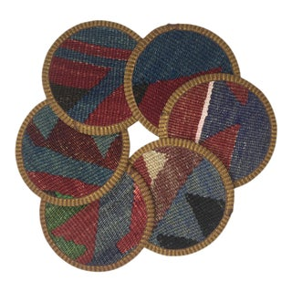 Rug & Relic Kiraz Kilim Coasters - Set of 6 For Sale