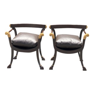 Quatrain Roman Gilt-Wood Designer Trestle Chairs - a Pair