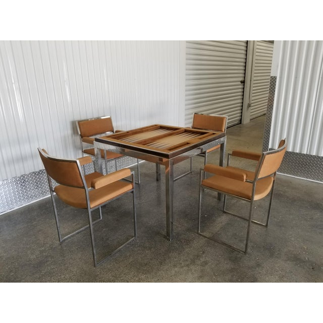 Willy Rizzo 1970's Signed Willy Rizzo Gaming Table & Chairs For Sale - Image 4 of 13