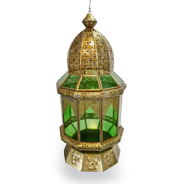 Cororful Moorish hand cut brass and green sprayed glass lantern. Traditional design with detailed cut brass work details....
