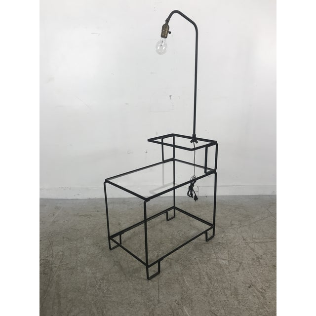 Mid-Century Wrought Iron Table & Lamp Combo in the Style of Weinberg, McCobb For Sale - Image 13 of 13