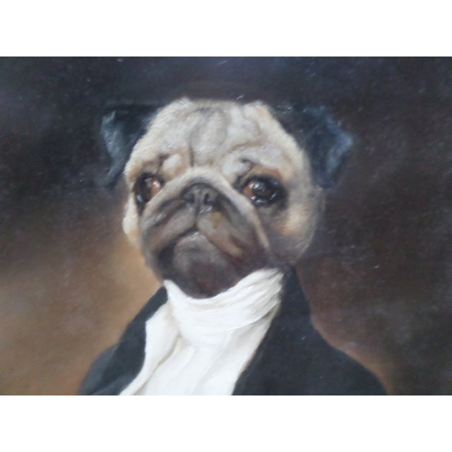 English Portrait of a Pug, Contemporary Oil on Board For Sale - Image 3 of 9