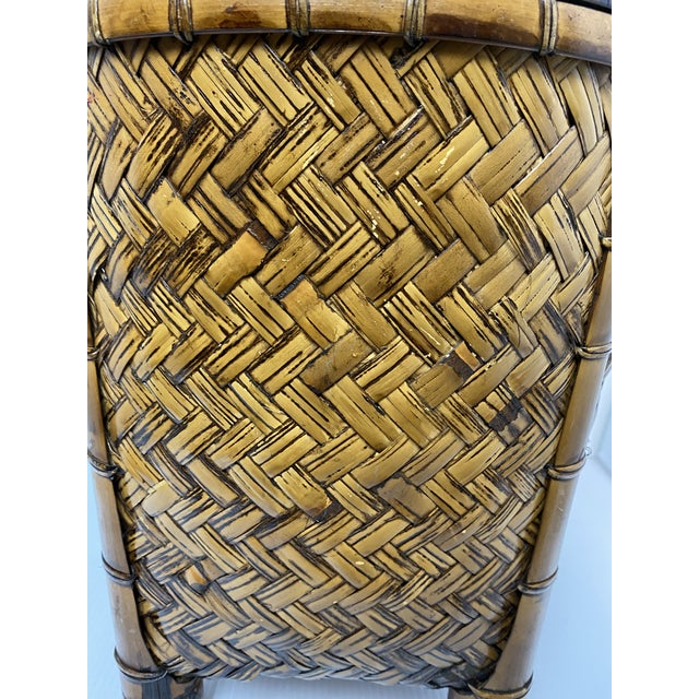 1970s Vintage 1970s Woven Rattan Table Lamp For Sale - Image 5 of 7