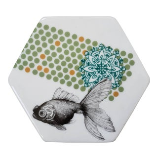 Boho Chic Anthropologie Porcelain Fish Trinket Jewelry Box For Sale