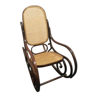 Bentwood Cane Back Rocking Chair in the Style of Michael Thonet, Made in Poland