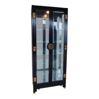 American of Martinsville Chiniosere Style Lighted Curio Display Cabinet For Sale