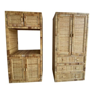 Vintage Boho Chic Rattan and Storage Cabinets - Set of 2 For Sale