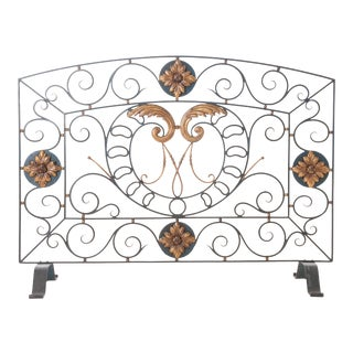 Late 19th Century Painted Iron Panel Fire Screen For Sale