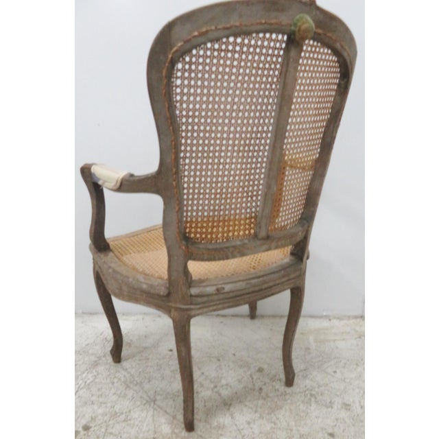 French Style Antique Caned Distressed Chair - Image 2 of 9