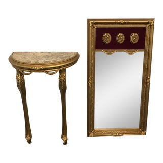 Gilded Beechwood Stand With Matching Mirror - 2 Pc. Set