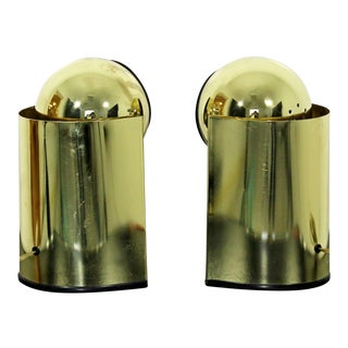 Mid Century Modern Pair of Small Brass Adjustable Spotlight Table Lamps 1970s For Sale