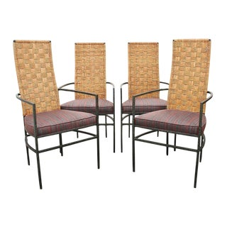 1980s Vintage Modern Rattan and Metal Dining Chairs- Set of 4 For Sale