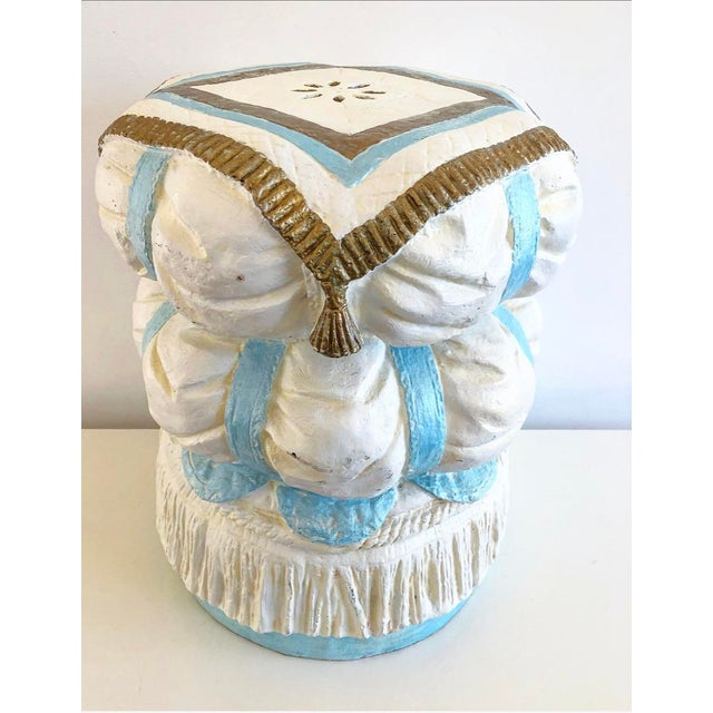 Vintage Hollywood Regency Style Fiberglass Puffy Stacked Pillow Garden Stool With Tassel, Rope and Fringe Detials For Sale - Image 13 of 13