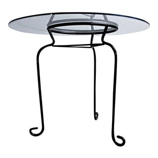 Vintage Mid Century Modern Glass Top Round Side Table
