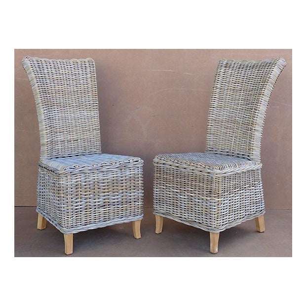 Contemporary Rattan Wicker High Back Dining Chairs - Set of 6 For Sale - Image 3 of 11