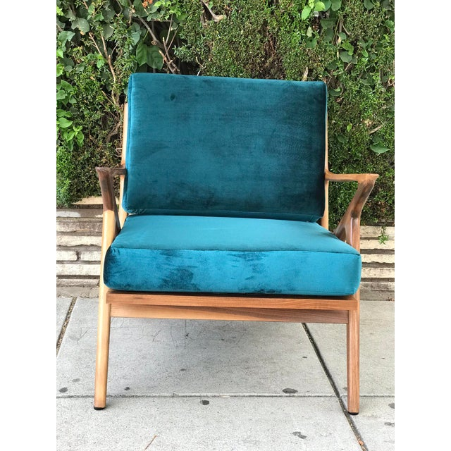 Mid Century Z Chair in Peacock Jade For Sale - Image 12 of 13