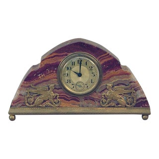 Decorative French Marble Alarm Wind-Up Clock With Mythic Figures, Art Deco Era For Sale