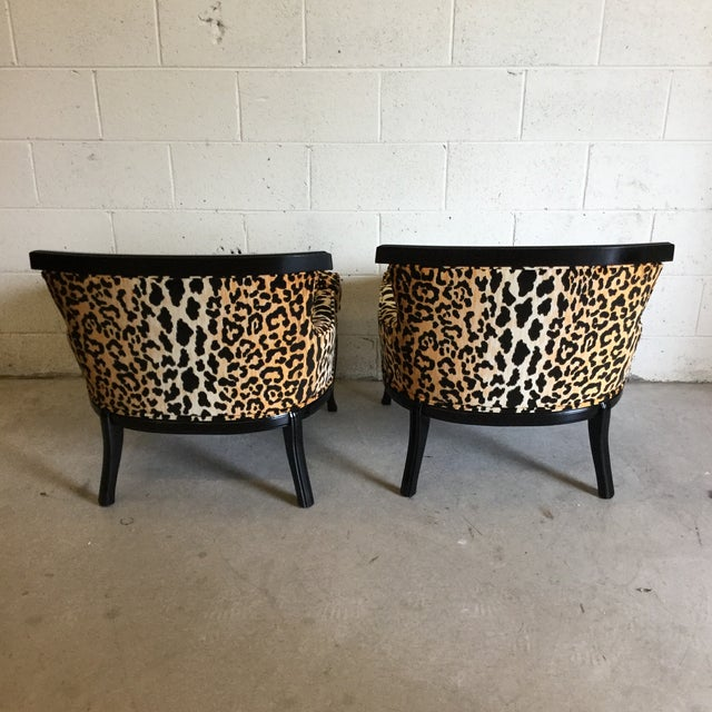 Velvet Leopard Print Slipper Chairs - a Pair For Sale - Image 4 of 11
