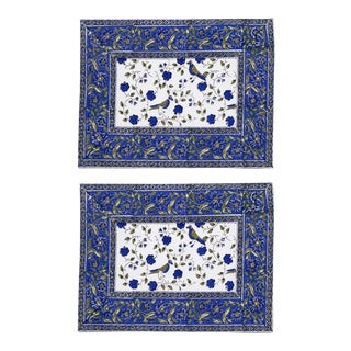 Birds On Vine Placemats Blue - A Pair For Sale