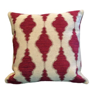 Red and Cream Tapestry Pillow For Sale