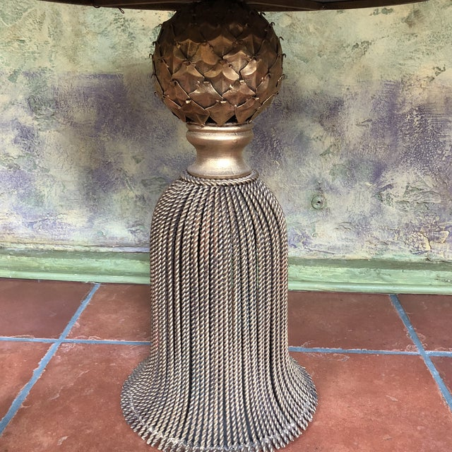 Gold Horchow Gold Tassel Ebony Granite Side Table For Sale - Image 8 of 12