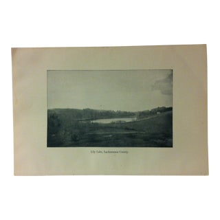 "Vintage Print of an American Lake, ""Lilly Lake - Lackawanna County"", Circa 1930 For Sale"