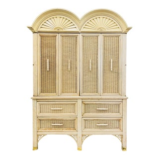 Vintage Faux Bamboo Chippendale Style Hutch