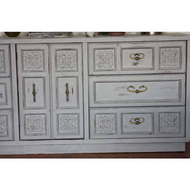 Carved Wood Detailed Gray Dresser - Image 4 of 11
