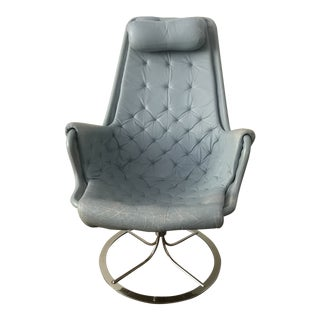 1970s Vintage Bruno Mathsson Jetson Light Blue Swivel Arm Chair For Sale