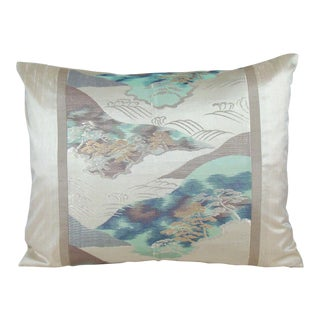 Island Pines Japanese Silk Obi Pillow Cover For Sale