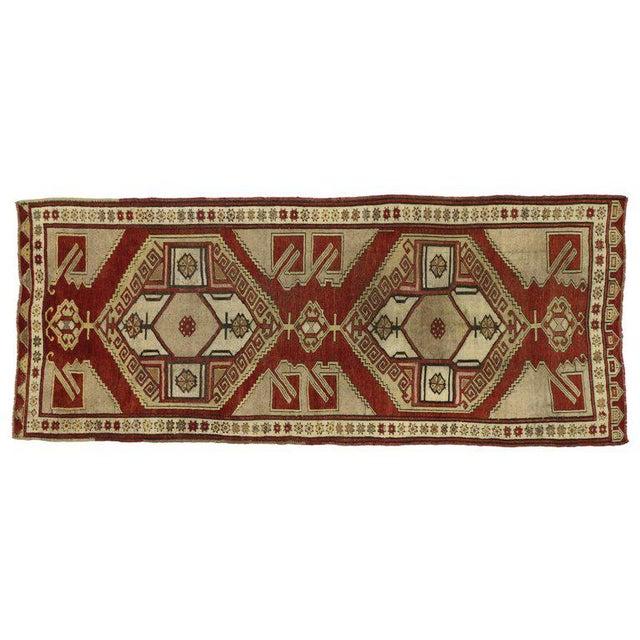 Vintage Turkish Oushak Runner with Modern Tribal Style, Hallway Runner For Sale - Image 4 of 5