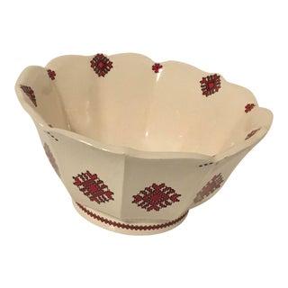 Mid 20th Century Mid 20th Century Ukrainian Folk Art Pottery Bowl Needlepoint Pattern For Sale