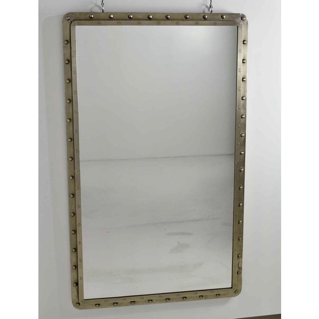 Industrial Very Large Cast Iron Porthole Industrial Style Wall Mirrors - A Pair For Sale - Image 3 of 6