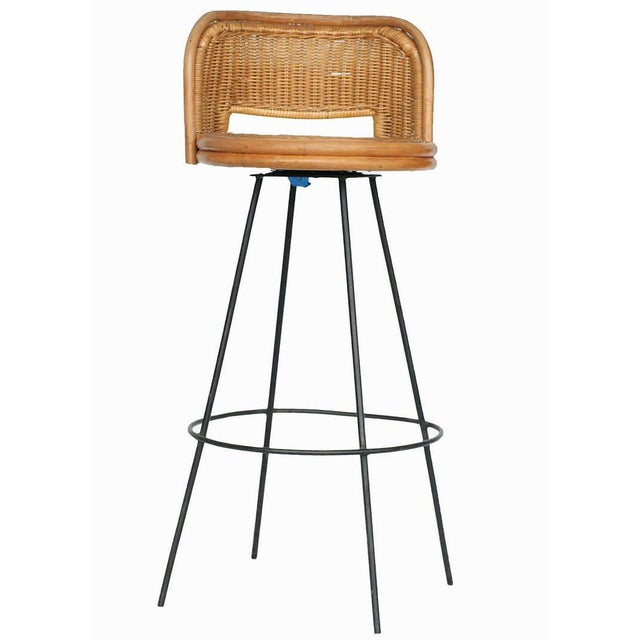 Seng of Chicago rattan and metal swivel bar stool pair with seat backs. This delicate combination of rattan and metal is a...