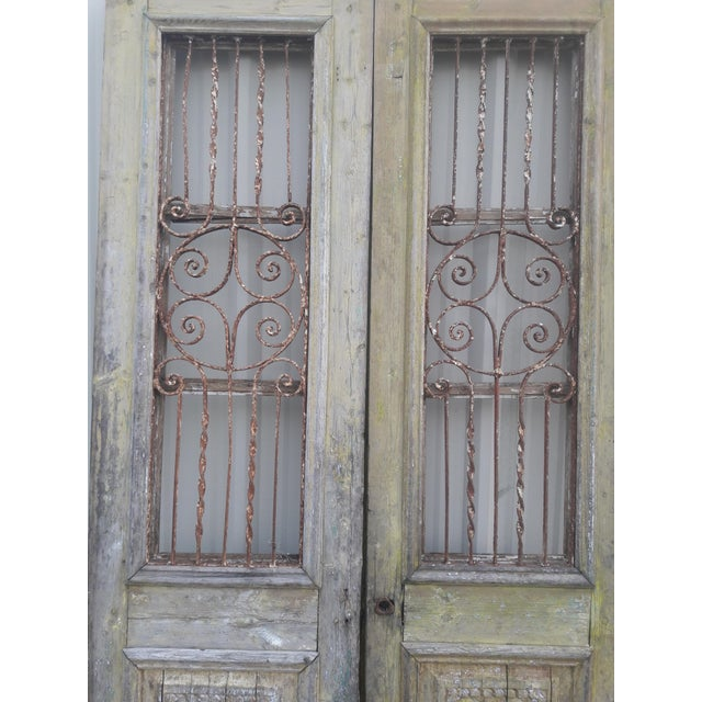 French Antique French Iron Grill Door Rustic Farmhouse Natural Doors - a Pair For Sale - Image 3 of 11