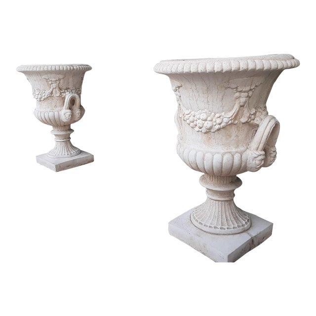 Vintage Della Robia Large Urn Planters - A Pair For Sale