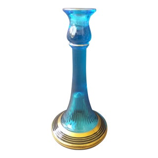 French Blue Glass Candle Holder For Sale