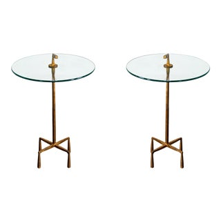 Pair of Italian Metal Gilt Side Tables For Sale