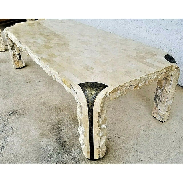 Maitland - Smith 1980s Maitland Smith Tessellated Mactan Stone + Brass Coffee Table For Sale - Image 4 of 10
