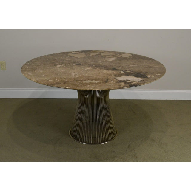 "1970s Warren Platner for Knoll 54"" Round Marble Top Dining Table For Sale - Image 5 of 13"