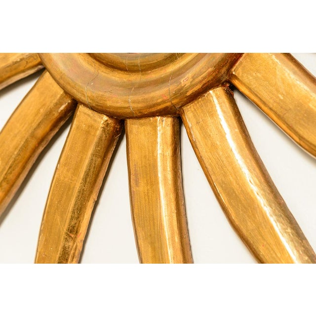 Italian Italian Gilt Wood Sunburst Mirror With Convex Mirror For Sale - Image 3 of 13