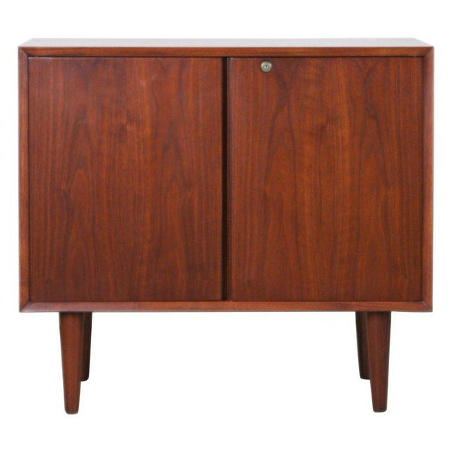 Small Mid-Century Modern Lockable Walnut Cabinet or Mini-Bar or Dry Bar For Sale - Image 13 of 13