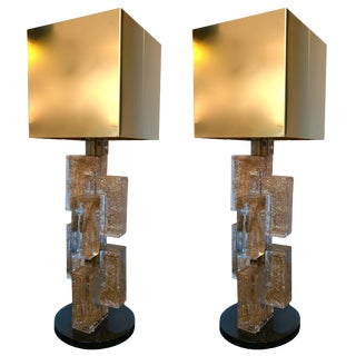 Pair of Contemporary Lamps Cubic Gold Powder Murano Glass, Italy For Sale