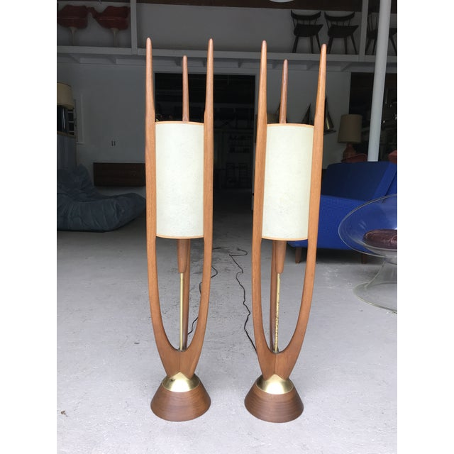 """Brown 40"""" Tall Walnut Modeline Table Lamps For Sale - Image 8 of 8"""