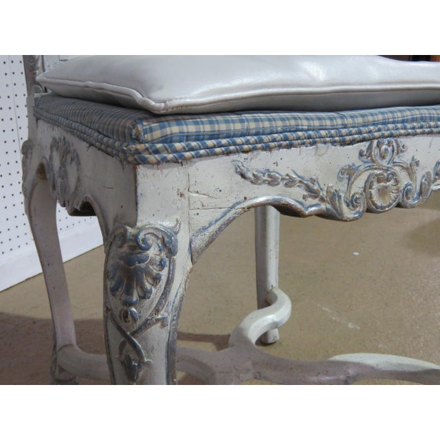 Caning Swedish Rococo Style Desk Chair For Sale - Image 7 of 9