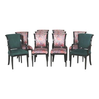 Set of 10 Weiman Lacquered Roll Back Dining Chairs For Sale