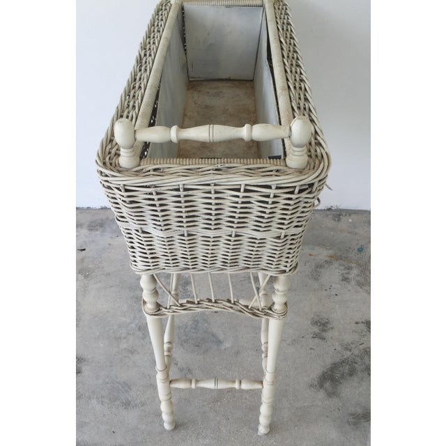 Antique White-Painted Wicker & Wood Planter - Image 8 of 9