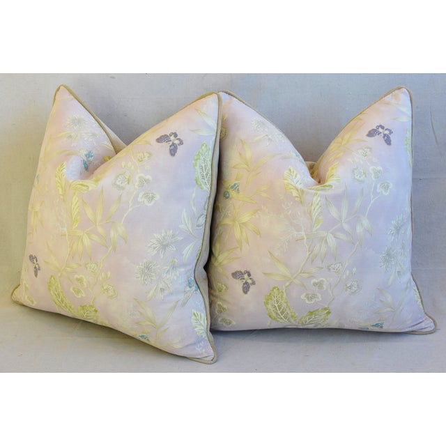 """Pale Lavender Wildflower & Butterfly Linen Feather/Down Pillows 23"""" Square - Pair For Sale - Image 10 of 13"""